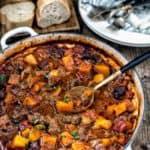 Big pot of vietnamese lemongrass beef stew
