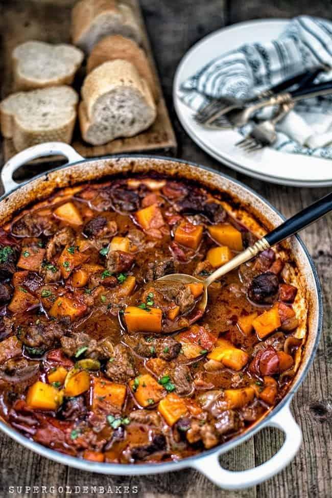 Big pot of red vietnamese lemongrass beef stew