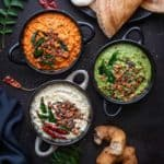 3 bowls of different indian chutneys