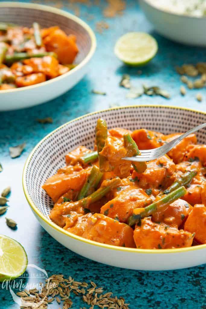 2 plates of vegan Sri lankan curry
