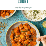 Dipping into a bowl of red sri lankan curry
