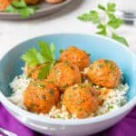 Bowl of rice with soy and 5 spice powder salmon meatballs