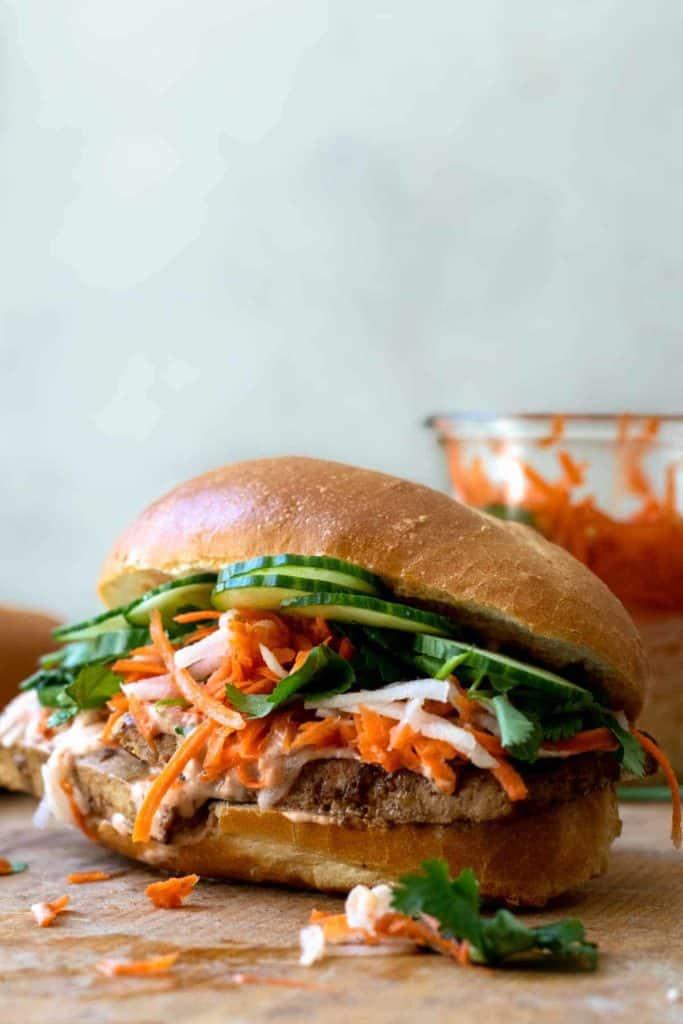 A vegan banh mi sandwich using tofu
