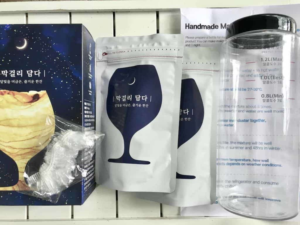 The contents of a makgeolli home kit