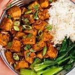 A vegan rice bowl with box choy and tofu adobo