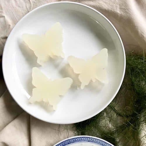 3 butterfly shaped, no sugar added agar agar jelly