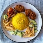 A plate of golden nasi kuning