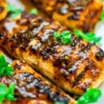 Fish fillets glazed with tamraind garnished with herbs